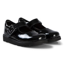 Clarks Crown Honor School Shoes Black Patent Leather