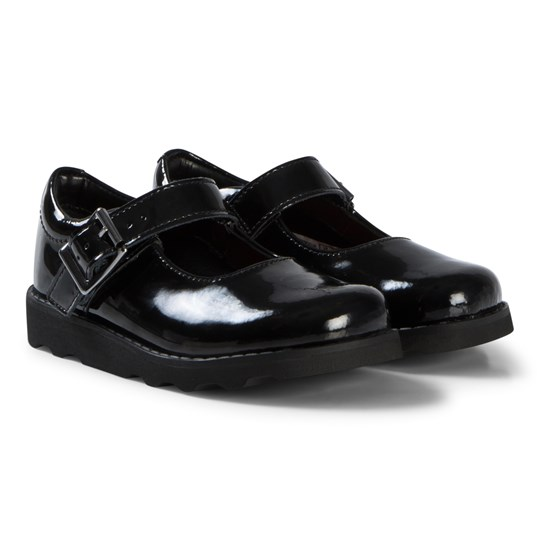 Clarks Crown Honor School Shoes Black Patent Leather Black Pat Lea