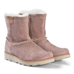 Clarks Crown Piper Boots Pink Suede