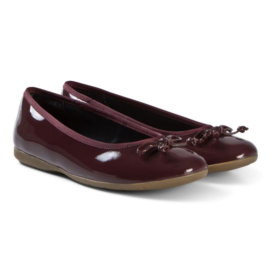 Clarks Jesse Shine Ballerina Shoes Red Patent Leather Red Leather