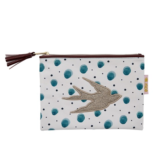 Rice Flat Pencil Case Watercolor Splash vit gron prick