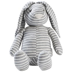 STOY Grey Stripes Rabbit Soft Toy