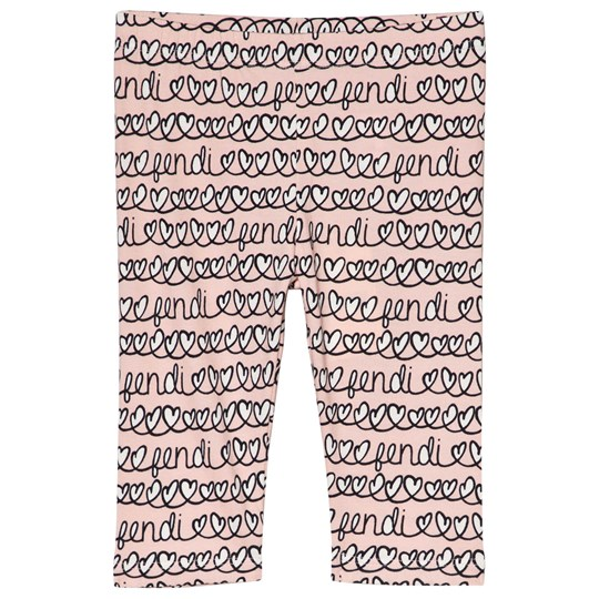 Fendi Pink Heart and Logo Baby Leggings F0UJ2