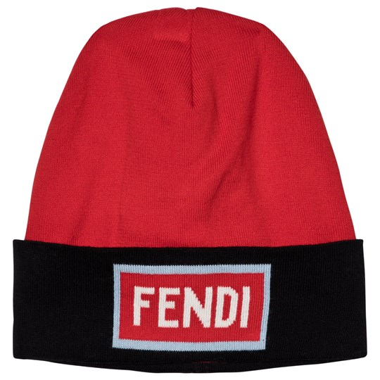 Fendi Navy and Red Logo Beanie F0WB1