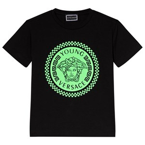 Image of Young Versace Black and Lime Medusa Print Tee 4 years (3056076613)