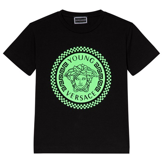 Versace Black and Lime Medusa Print Tee 4300