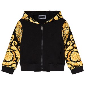 Image of Young Versace Black and Gold Baroque Print Hoodie 12 months (3056076829)