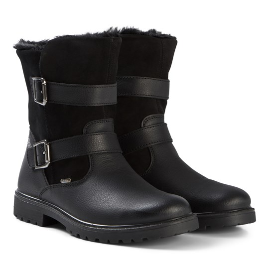 Primigi Black Suede and Leather Waterproof Goretex Shearling Lined Boots Black/Black