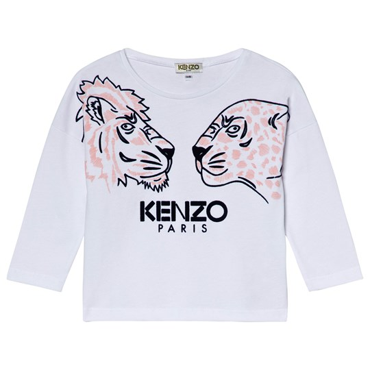 Kenzo White and Pink Tiger and Friends Print Long Sleeve Tee 01