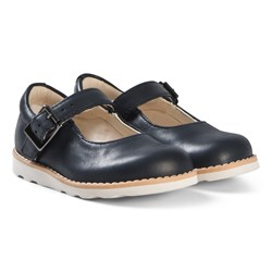 Clarks Crown Honor Shoes Navy Leather
