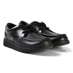 Clarks Crown Tate Shoes Black Leather