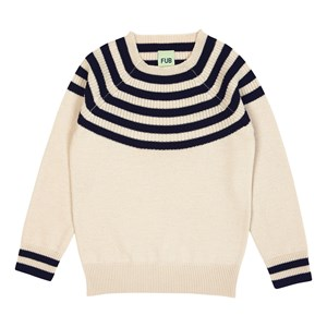 Image of FUB Color Sweater Ecru/Navy 130 cm (7-8 år) (3057106175)