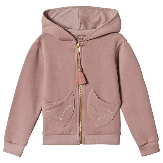 Emile et Ida Zip Hoodie with Fox Pockets Rose Multi