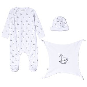 Image of The Little Tailor White Hat, Footed Baby Body and Comfort Blanket Gift Set 3-6 months (1207426)