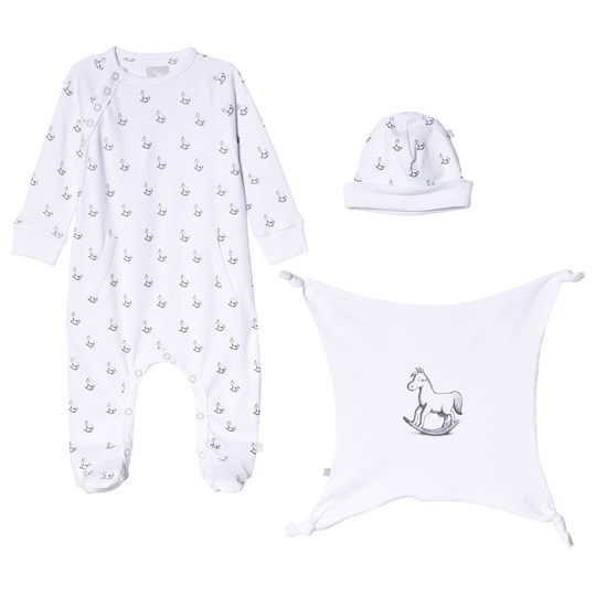 The Little Tailor White Hat, Footed Baby Body and Comfort Blanket Gift Set W