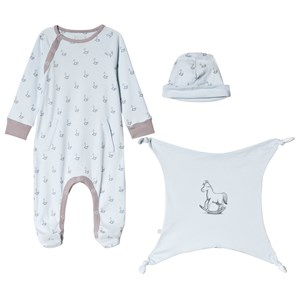 Image of The Little Tailor Blue Hat, Footed Baby Body and Comfort Blanket Gift Set 3-6 months (3056112185)