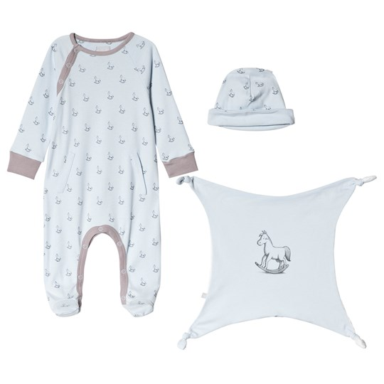 The Little Tailor Blue Hat, Footed Baby Body and Comfort Blanket Gift Set B