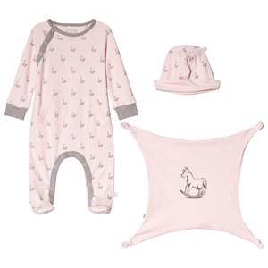 Image of The Little Tailor Pink Hat, Footed Baby Body and Comfort Blanket Gift Set 6-9 months (1207435)
