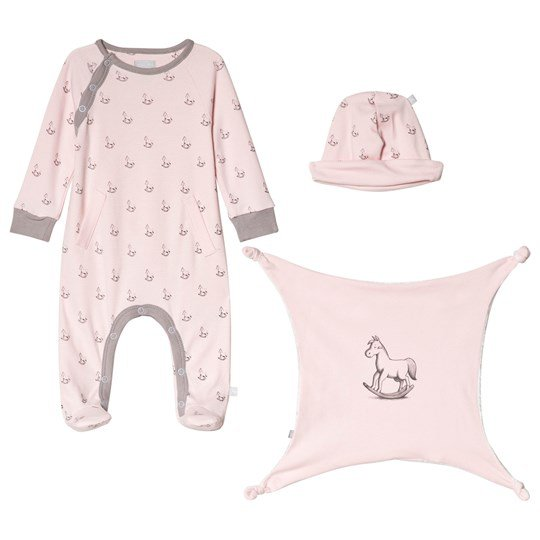 The Little Tailor Pink Hat, Footed Baby Body and Comfort Blanket Gift Set P