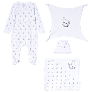Image of The Little Tailor White Hat, Footed Baby Body, Blanket and Comfort Blanket Gift Set 3-6 months (3056112193)