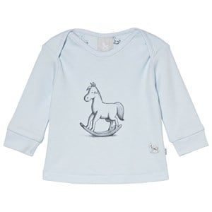 Image of The Little Tailor Blue Rocking Horse Long Sleeve Tee 0-3 months (3056112233)