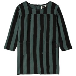 Sproet & Sprout Stripe Sweat Dress Forest Green/Black