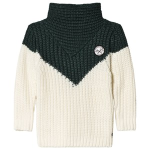 Image of Sproet & Sprout Colorblock Knitted Sweater Forest Green/White 134-140 (9-10 years) (3056086385)