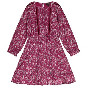 Image of Velveteen Embroidered Dress Berry Print 10 years (3056107829)
