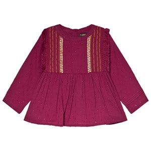 Image of Velveteen Embroidered Yoke Top Berry 10 years (1138325)
