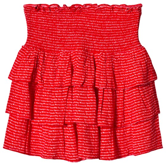 Little Remix Freja Skirt Red Red w Cream Print