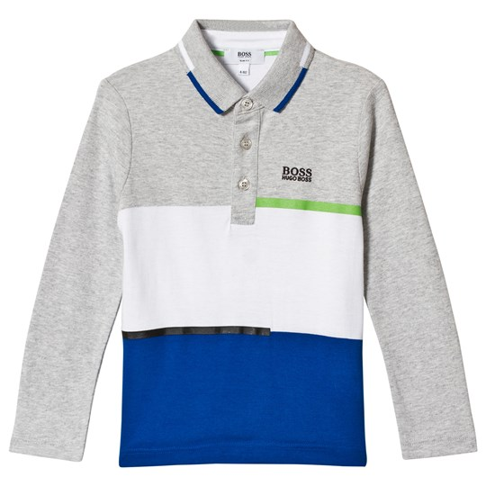 BOSS Blue and Grey Marl Panelled Long Sleeve Polo A89