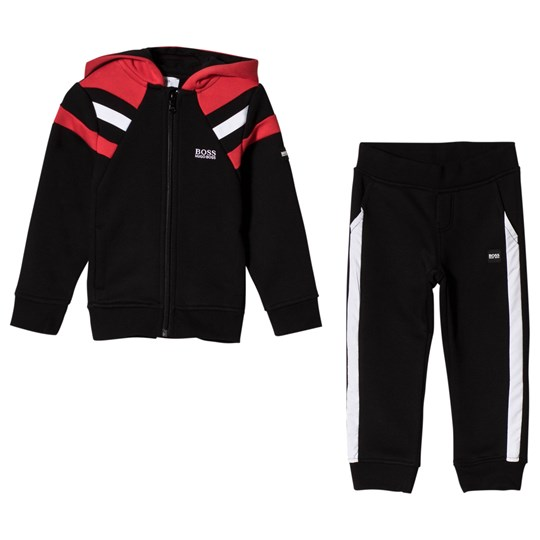BOSS Paneled Logo Tracksuit Black/Red M99