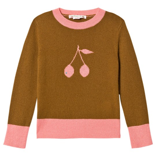 Bonpoint Tan and Pink Cherry Cashmere Sweater 138