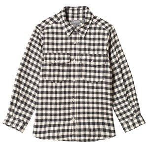 Image of Bonpoint Black and Cream Check Flannel Shirt 10 years (3056093513)