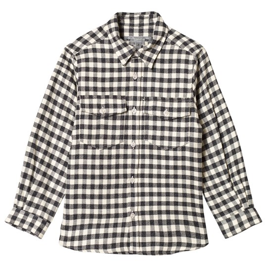 Bonpoint Black and Cream Check Flannel Shirt 395