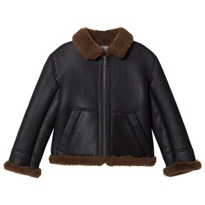Image of Bonpoint Black and Brown Sheepskin Jacket 10 years (3056093621)