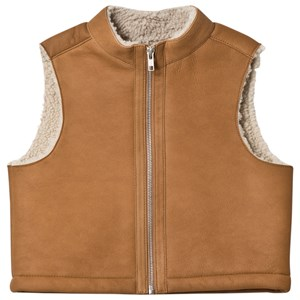 Image of Bonpoint Tan Sheepskin Gilet 10 years (3056093631)