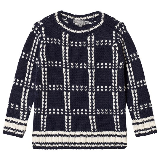 Bonpoint Navy and Cream Check Knit Sweater 277
