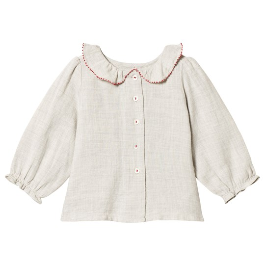 Bonpoint Grey and Red Frill Collar Blouse 109A