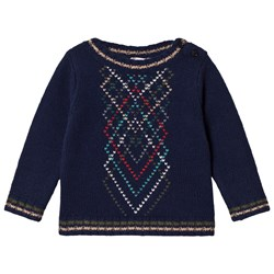 Bonpoint Navy Multi Patterned Knit Sweater