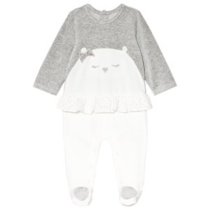 Image of Mayoral White and Grey Velour Bear Embroidered Footed Baby Baby 2-4 months (3056088097)