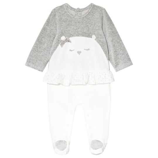 Mayoral White and Grey Velour Bear Embroidered Footed Baby Baby 30