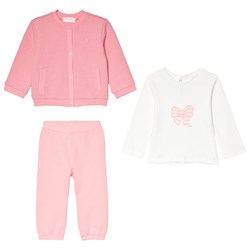 Mayoral Set of 3 Pink Knit Cardigan, Pink Bottoms and Cream Bow Tee