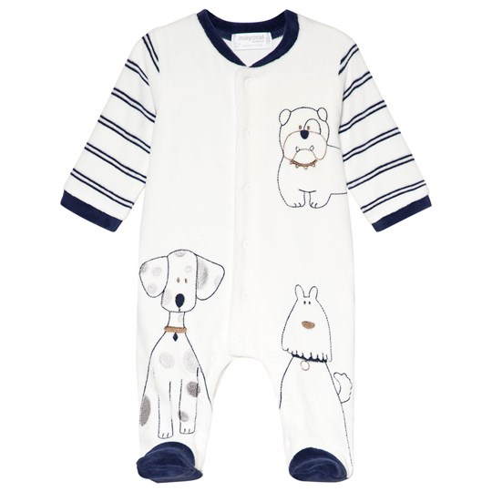Mayoral Cream and Navy Velour Embroidered Dogs Footed Baby 47