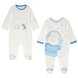 Image of Mayoral Pack of 2 White and Blue Penguin Print Footed Baby Body 2-4 months (3056088309)