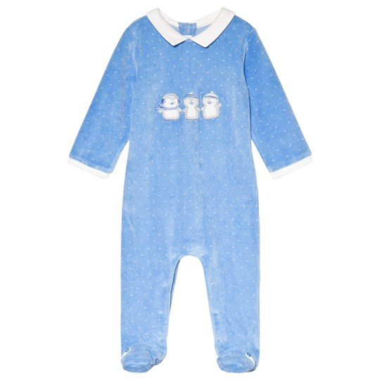 Mayoral Blue Penguin Applique Velour Footed Baby Body 66