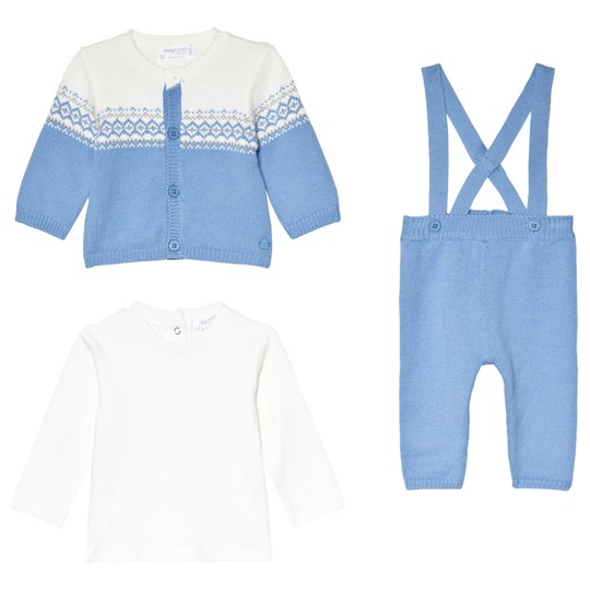 Mayoral Set of 3 Blue Fairisle Knit Cardigan, Knit Bottoms and Long Sleeve Tee 70