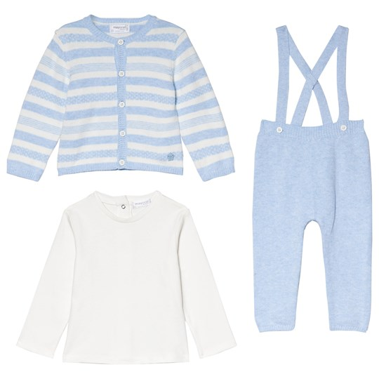 Mayoral Set of 3 Blue Stripe Knit Cardigan, Knit Bottoms and Long Sleeve Tee 69