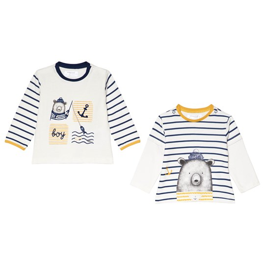 Mayoral Pack of 2 White and Blue Bear Themed Long Sleeve Tee 38