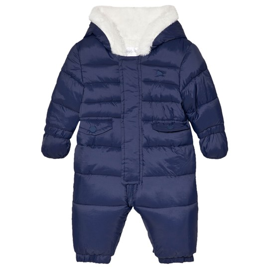 a247716ec063 Mayoral - Navy Padded Fleece Line Hooded Snowsuit with Mittens and ...